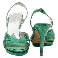 DLCE & GABBANA Water Green Alligator High Heels Size 37
