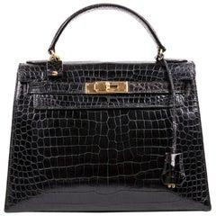 Hermes Vintage Black Porosus Crocodile Kelly 28 Bag