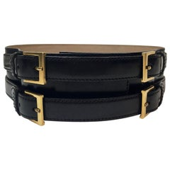 Alexander McQueen Black Leather Double Closure Belt