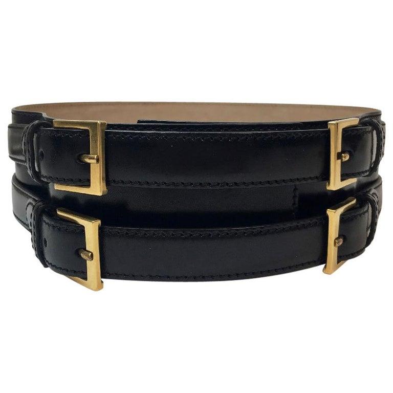 Alexander McQueen Black Leather Double Closure Belt  For Sale