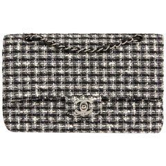 Chanel Black and White Tweed Fabric Quilted Medium Classic Double Flap Bag, 2005