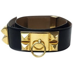 Hermes Collier de Chien Vintage Belt in Black Box Leather