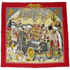 Hermes Vintage Silk Carre Scarf Concours d'Elegance by Kermit Oliver