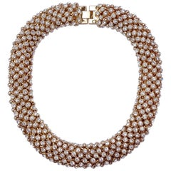 Gold Tone and Clear Rhinestones Vintage Collar Necklace, circa 1980s