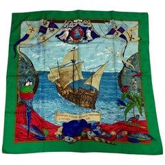 "Hermes ""Christopher Columbus"" Vintage Multicolored Damask Silk Scarf"
