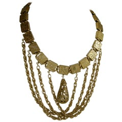 Vintage Rare Retro Ornate Brass Bib Necklace
