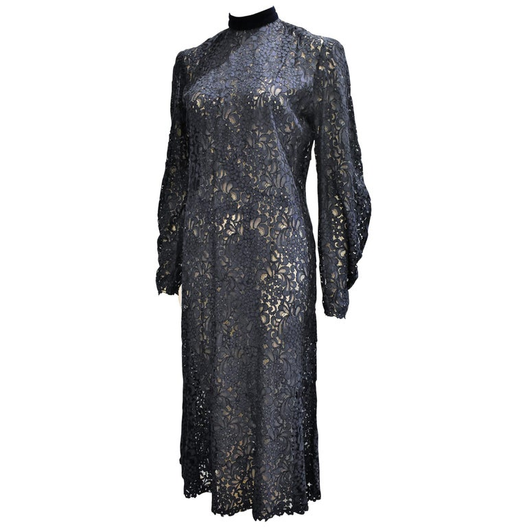 Vintage French Lace 1960s Dress with a Velvet Colar in Dark Blue