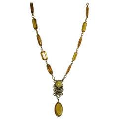 Vintage Czech 30s Faux Citrine Dragon Necklace