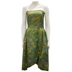 Vintage Taffeta Silk Strapless Dress, Circa 1960s