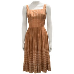 Vintage 1950s Batiste Handmade Dress with a Flowy Pleated Skirt
