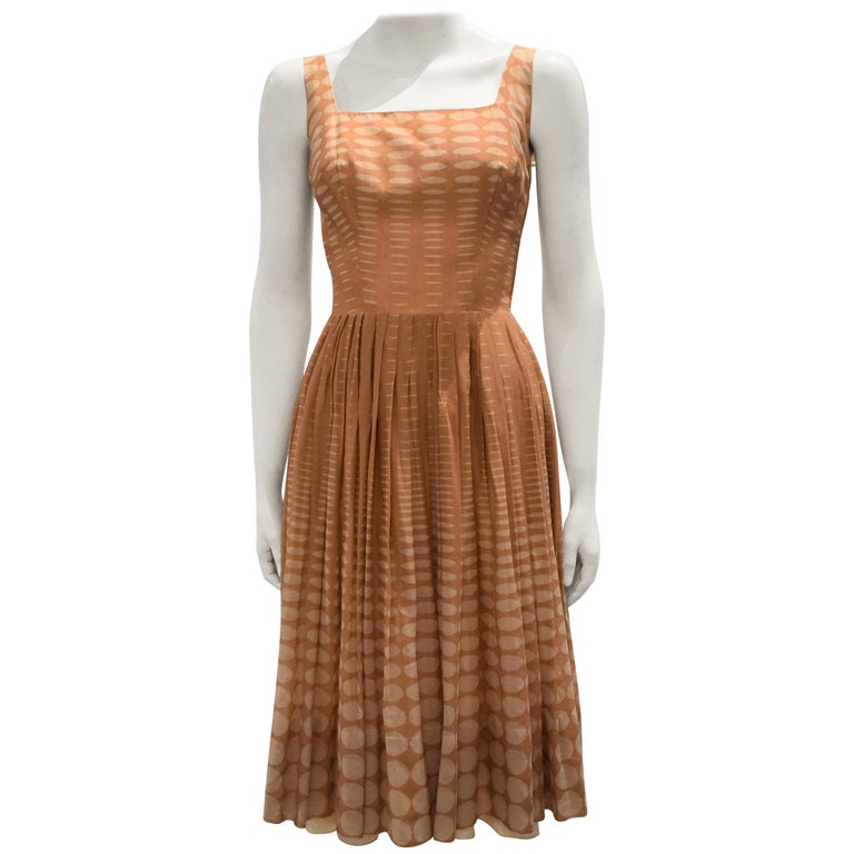 Vintage 1950s Batiste Handmade Dress with a Flowy Pleated Skirt For Sale