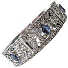 Art Deco Vintage Faux Sapphire Bracelet, 1930s