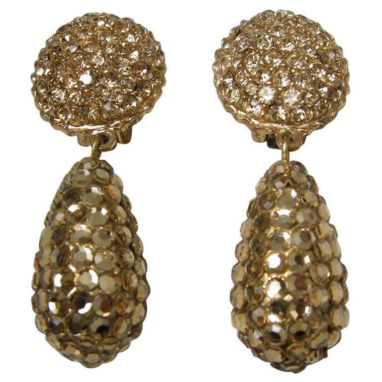 Vintage 60s Gold Tone Rhinestone Drop Earrings For Sale