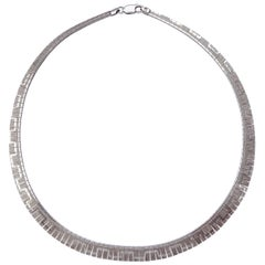 Italian Sterling Silver Shiny and Textured Vintage Geometric Design Necklace