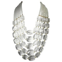 Huge Opaque And Clear Lucite Bib Necklace