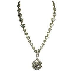 Oscar de la Renta Vintage Clear Crystal Drop Necklace