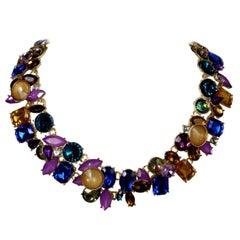 Signed Oscar de la Renta Colorful Runway Collar Necklace