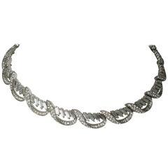 Trifari Vintage Rhinestone Baguette Necklace