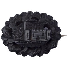 Antique Victorian Hand Carved Irish Bog Oak Brooch of Ross Castle