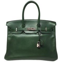 Hermes Paris  Sac BIRKIN 35 Green Olive Veau graine leather ,2011