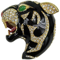 Ciner swarovski Crystal Black Panther Brooch Pin Never Worn 1980s
