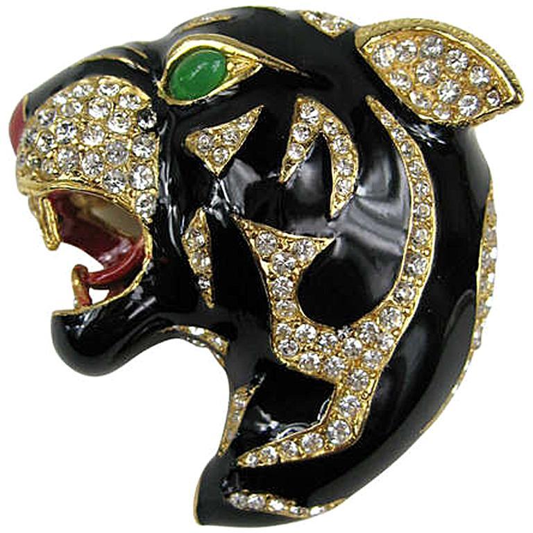 325b699de Ciner swarovski Crystal Black Panther Brooch Pin Never Worn 1980s For Sale