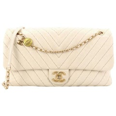 Chanel Medallion Charm Flap Bag Chevron Calfskin Jumbo