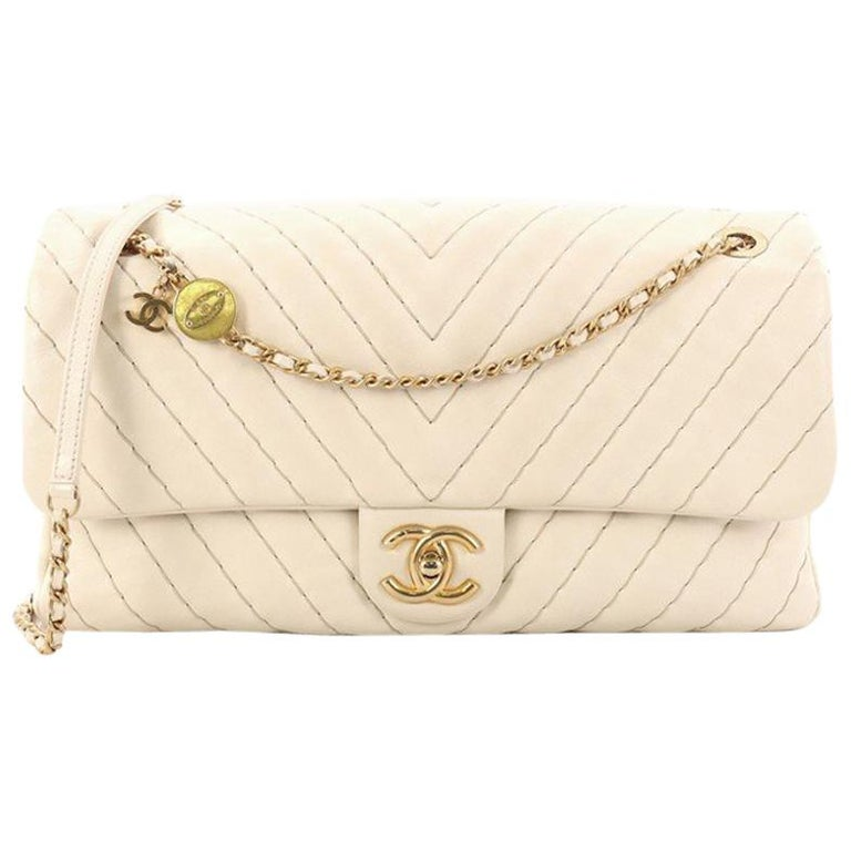 15dbb45f1977c8 Chanel Medallion Charm Flap Bag Chevron Calfskin Jumbo at 1stdibs