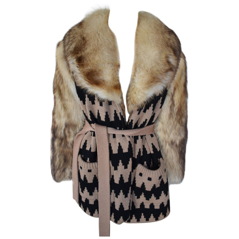 Vintage Lanvin Fur and Knitted Coat with Fox Sleeves and Collar, Mink Lining For Sale