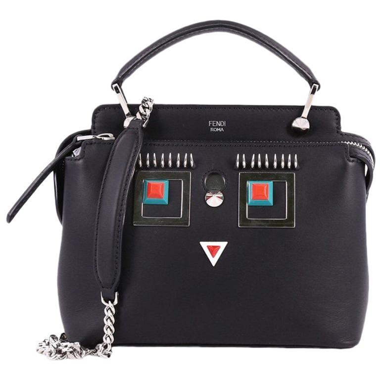 8125ff685814 Fendi DotCom Faces Click Top Handle Bag Embellished Leather Small For Sale