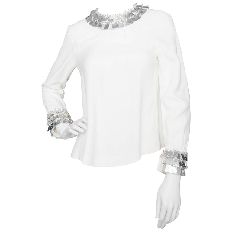 Chloé by Karl Lagerfeld vintage White Silk Blouse With Metallic Trim, 1970s