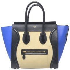 Celine Tri-Color Blue,Black and Beige Mini Luggage Leather Tote Handbag