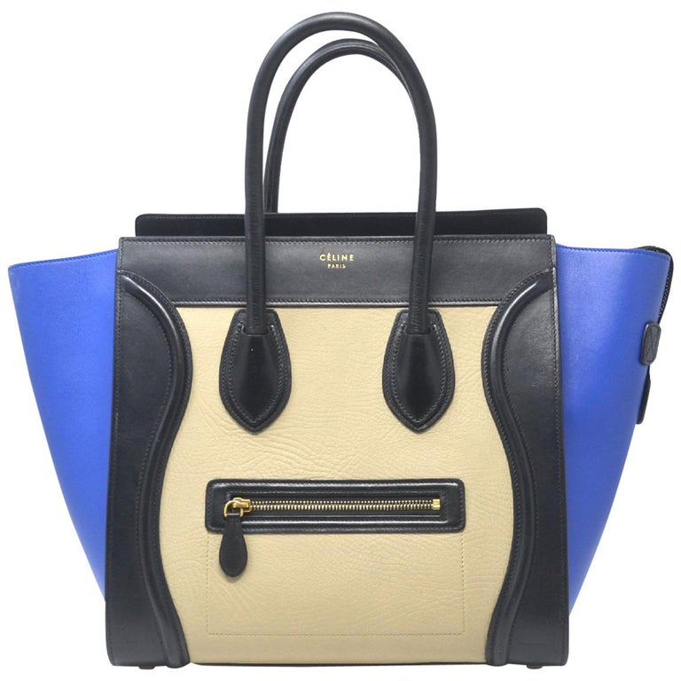 Celine Tri Color Blue Black And Beige Mini Luggage Leather Tote Handbag For