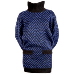 1980's AZZEDINE ALAIA blue and black sweater dress