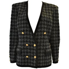 Vintage Richard Carrière Houndstooth Boucle Jacket, Chanel Style circa 1980