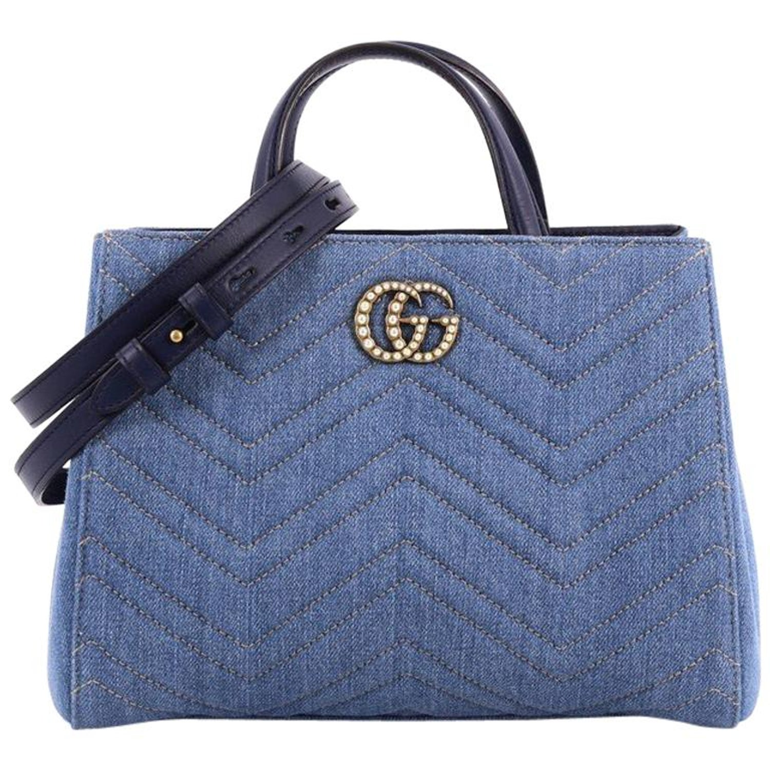 72f5660c121f Gucci Pearly GG Marmont Tote Matelasse Denim Small at 1stdibs