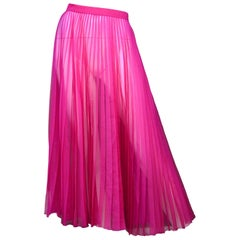 Gucci NWT Fuchsia Pink Pleated Silk-Blend Organza Midi Skirt sz 48