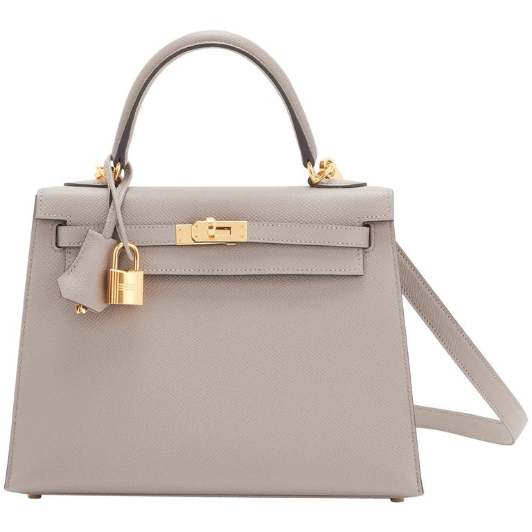 Hermes Gris Asphalte Epsom Sellier Gold Hardware C Stamp Kelly 25cm Bag