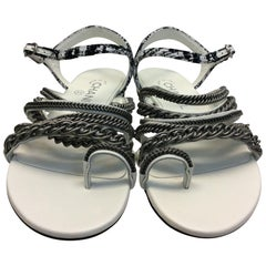 Chanel White Leather and Silver Chain Strap Sandal