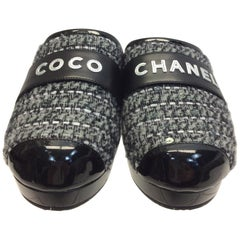 Chanel White and Black Tweed Clog