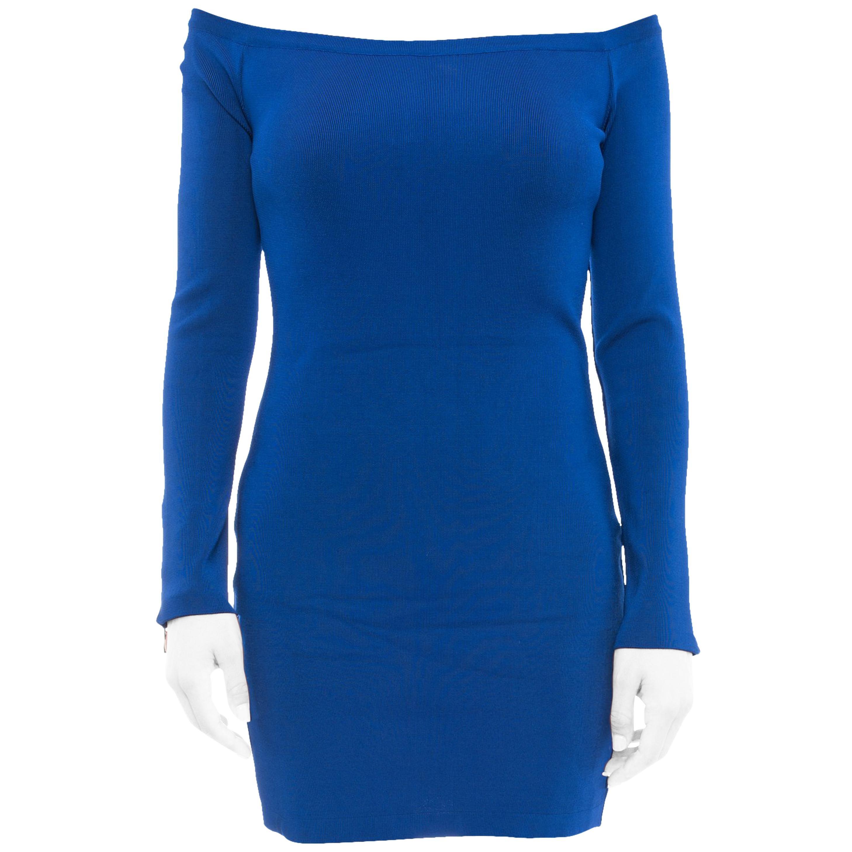 9d35dd4855a Balmain Cobalt Blue Off Shoulder Bodycon Dress at 1stdibs