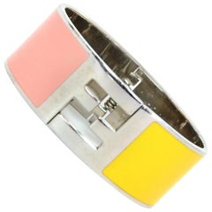 Fendi Pink & Yellow Clic Clac Silvertone Bangle Bracelet With Box