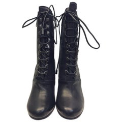 Chloe Black Leather Lace Up Boot