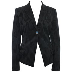Versace Collection Black Leopard Jacquard Blazer Jacket - 10