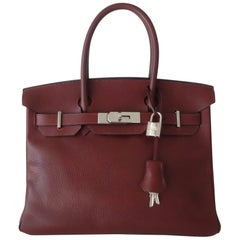 Hermès Taurillon Clemence Leather Bordeaux Burgundy Phw 30 cm Birkin Bag
