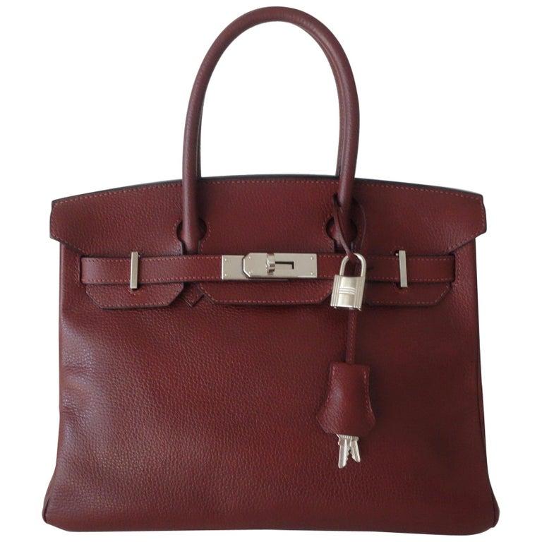 fd2ec4f582 Hermès Taurillon Clemence Leather Bordeaux Burgundy Phw 30 cm Birkin Bag  For Sale