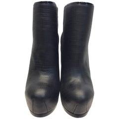 Yves Saint Laurent Black Leather Bootie