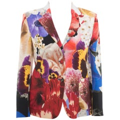 Roberto Cavalli Red Blue Yellow Floral Photoprint Blazer Jacket