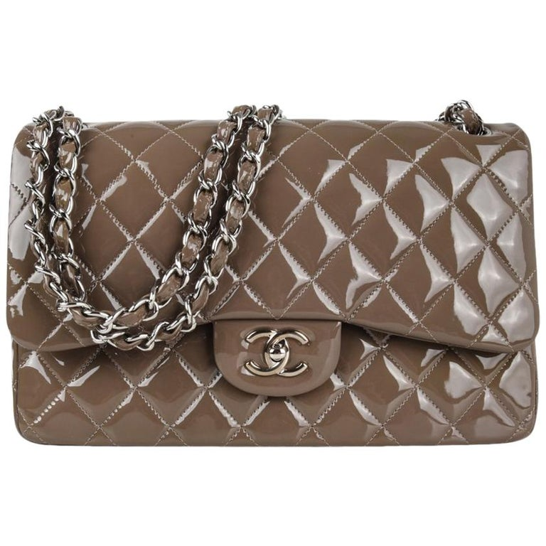5d26948d7340 Chanel Bag Patent Leather Jumbo Double Flap Taupe New For Sale at ...