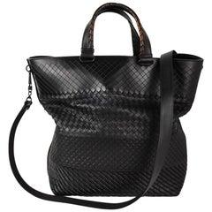 Bottega Veneta Intrecciato Imperatore Bag Varied Woven Pattern Black Tote